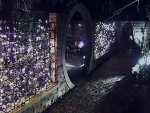 Yorkstone moongate and lighting