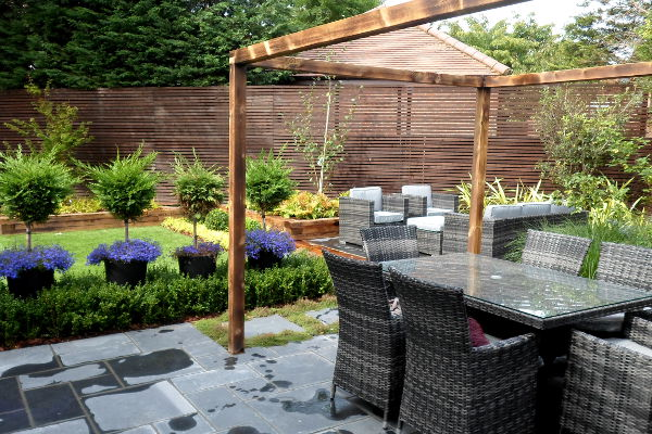 formal seating area with pergola